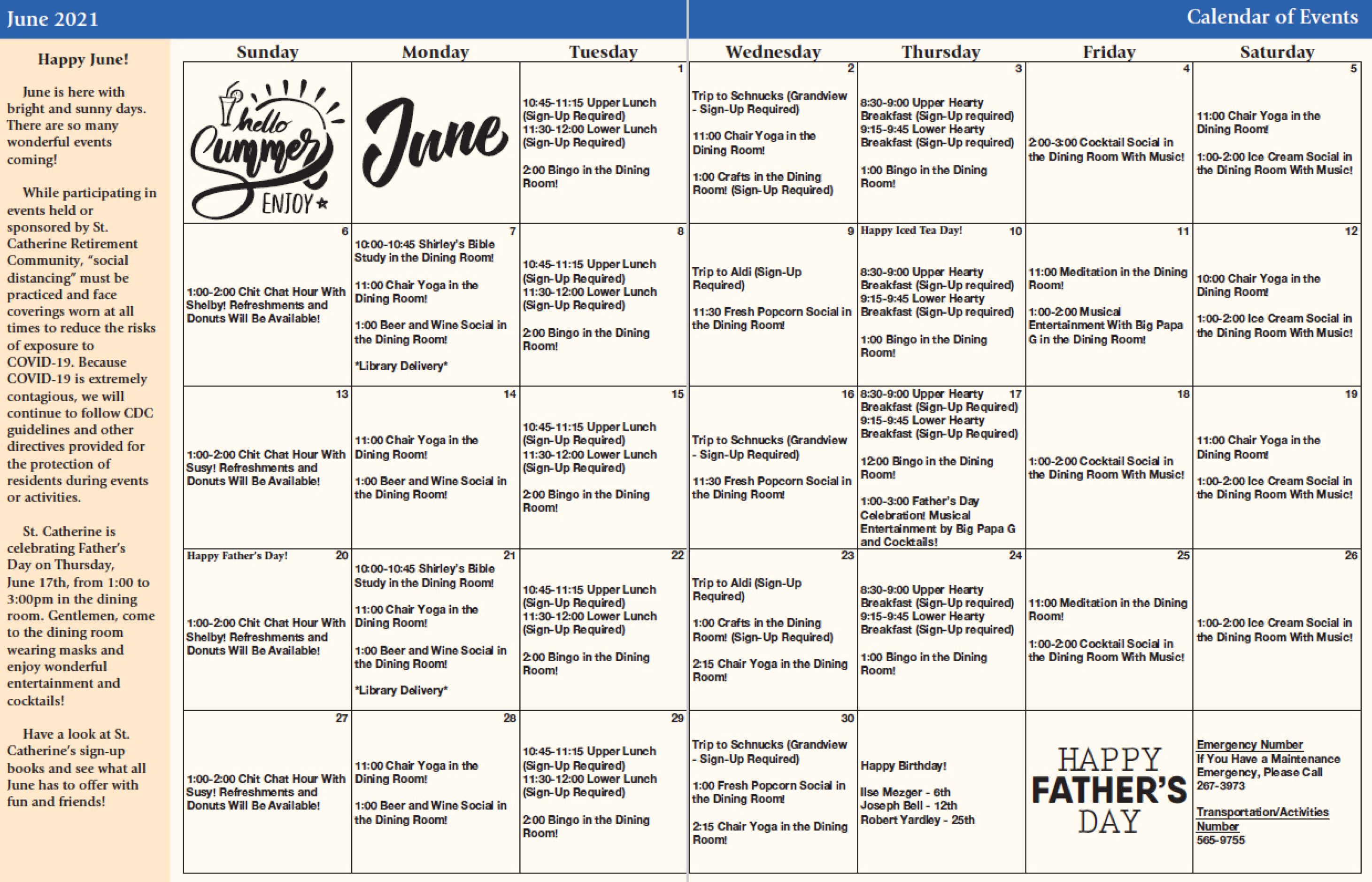 St. Catherine June 2021 Calendar