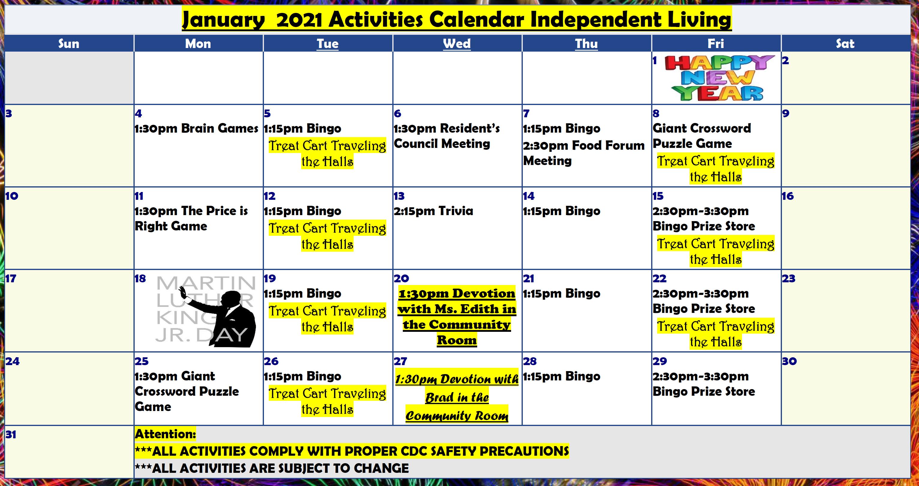 Carolinian IL January Calendar