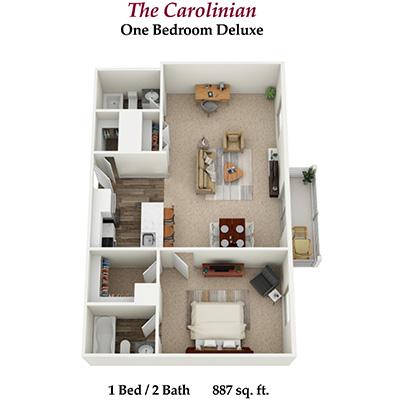 one bedroom two bathroom deluxe