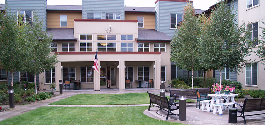 RHF Park Place exterior of building and outdoor seating area