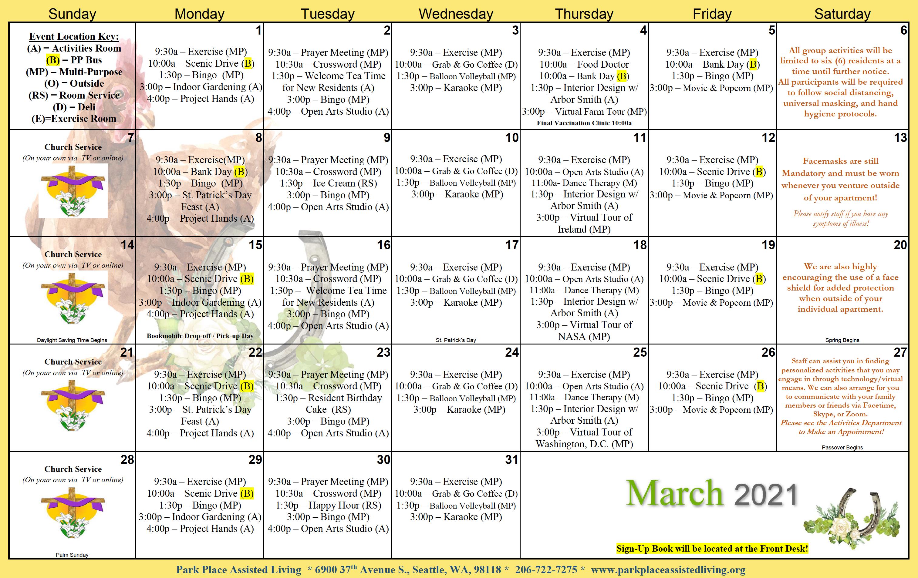 Park Place March Calendar
