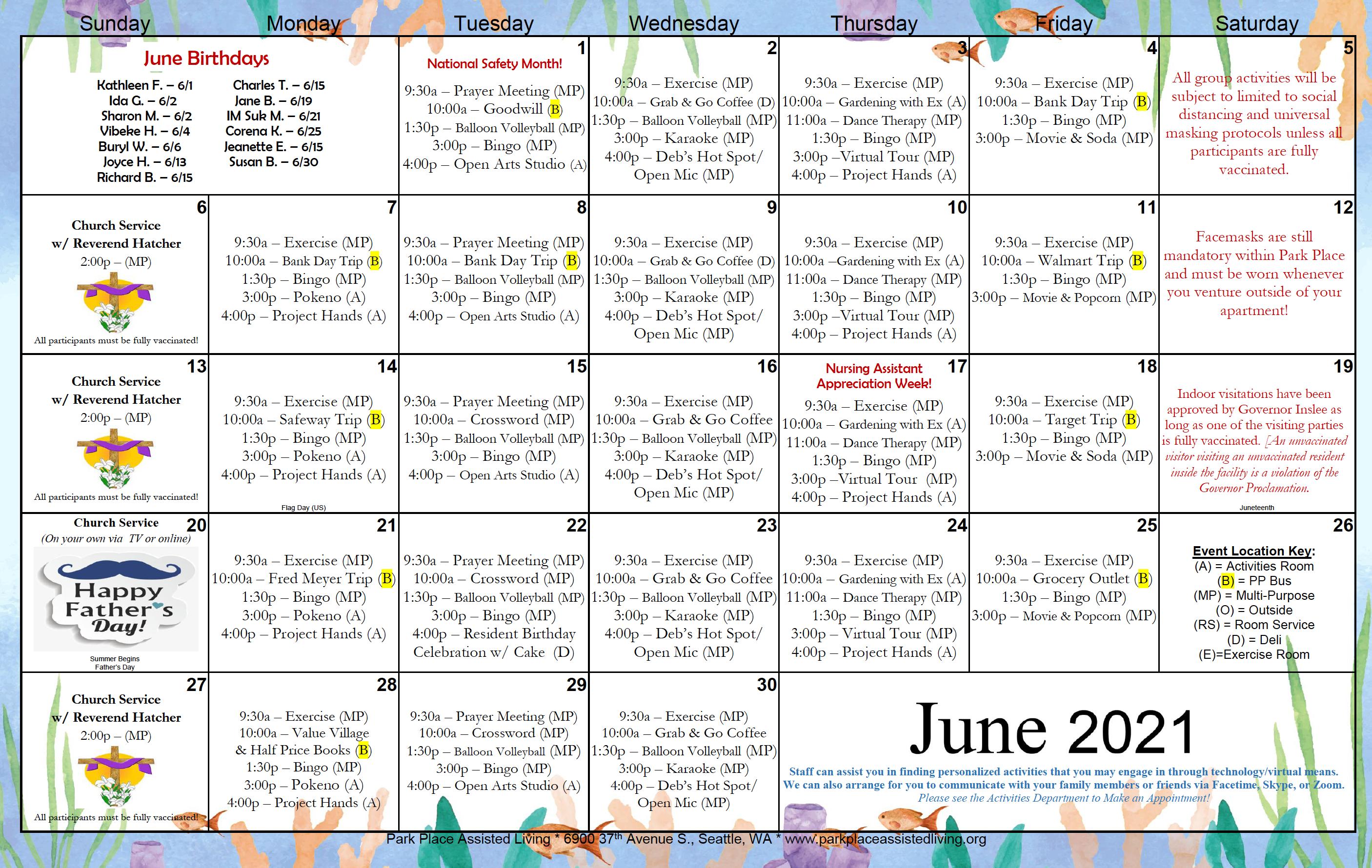 Park Place June 2021 Calendar