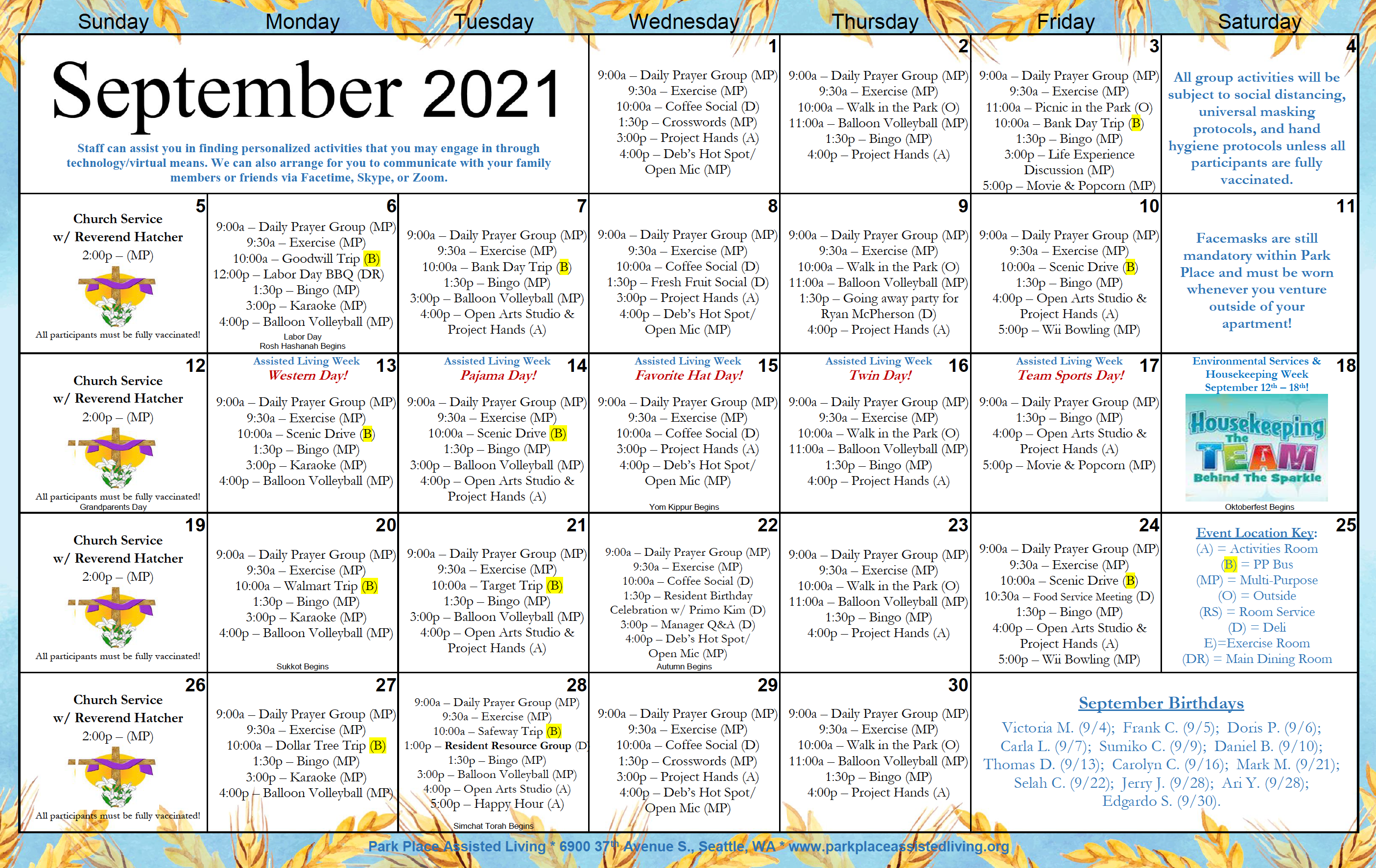 Park Place September 2021 Calendar