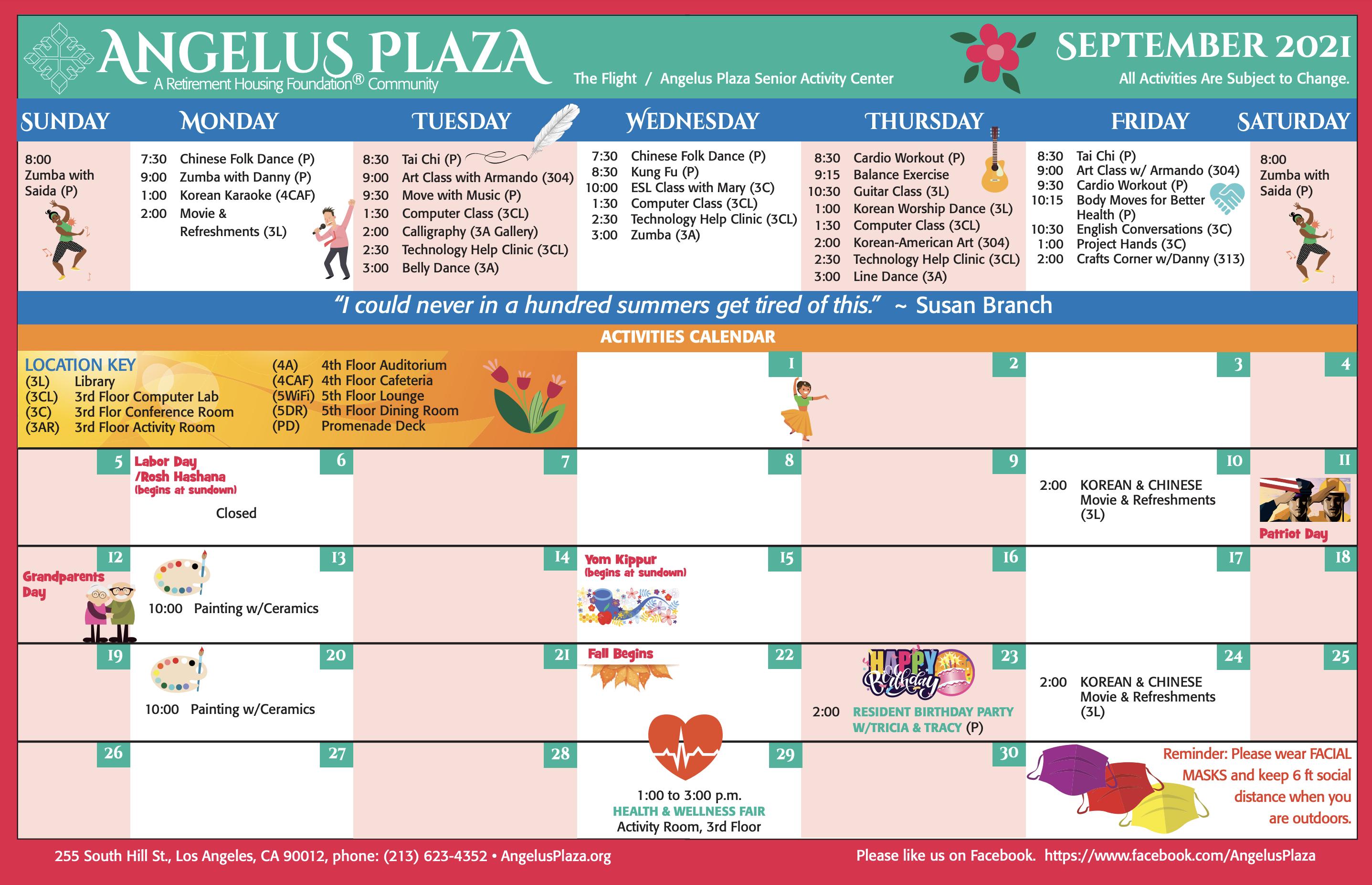 Angelus Plaza September Calendar