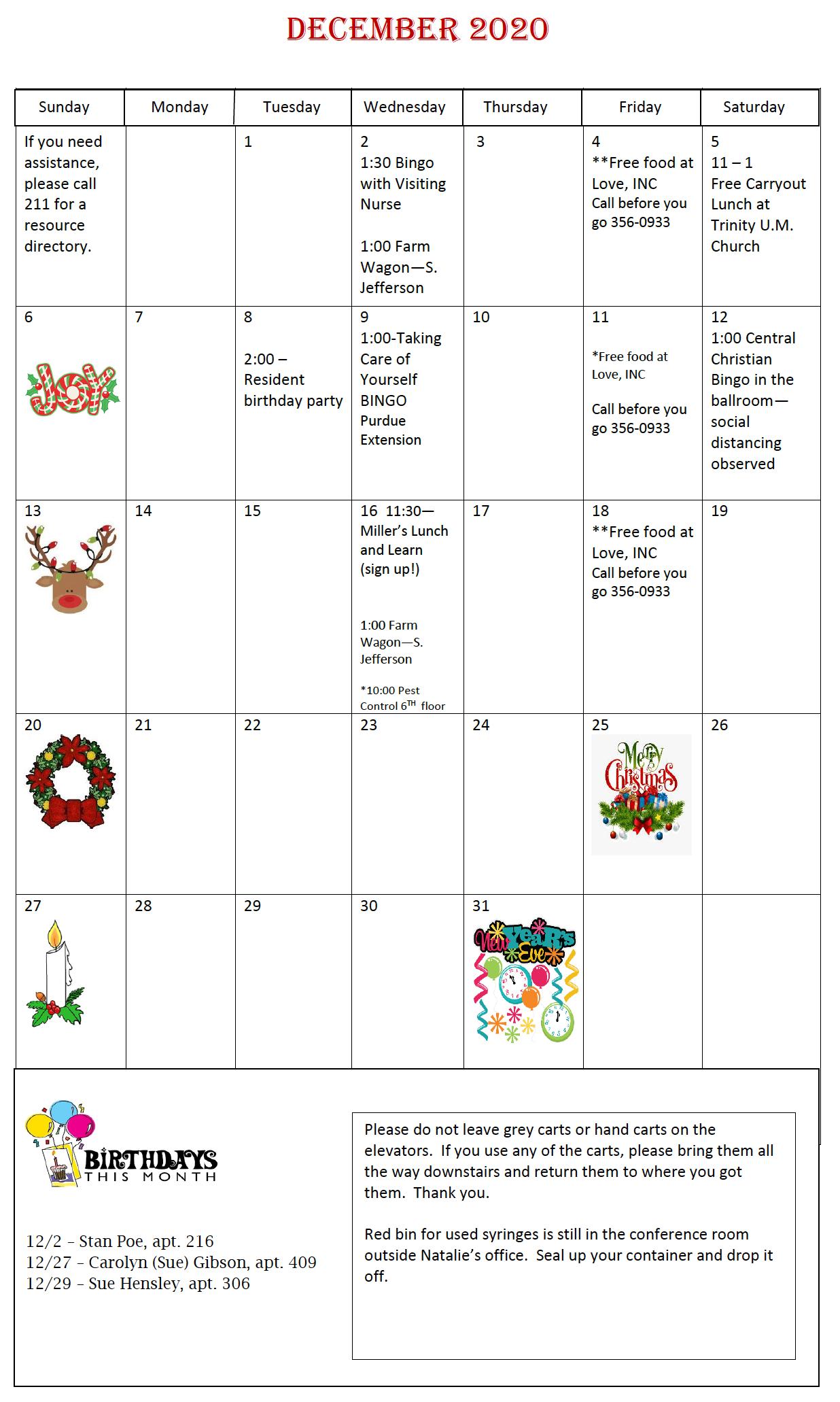 LaFontaine December Calendar