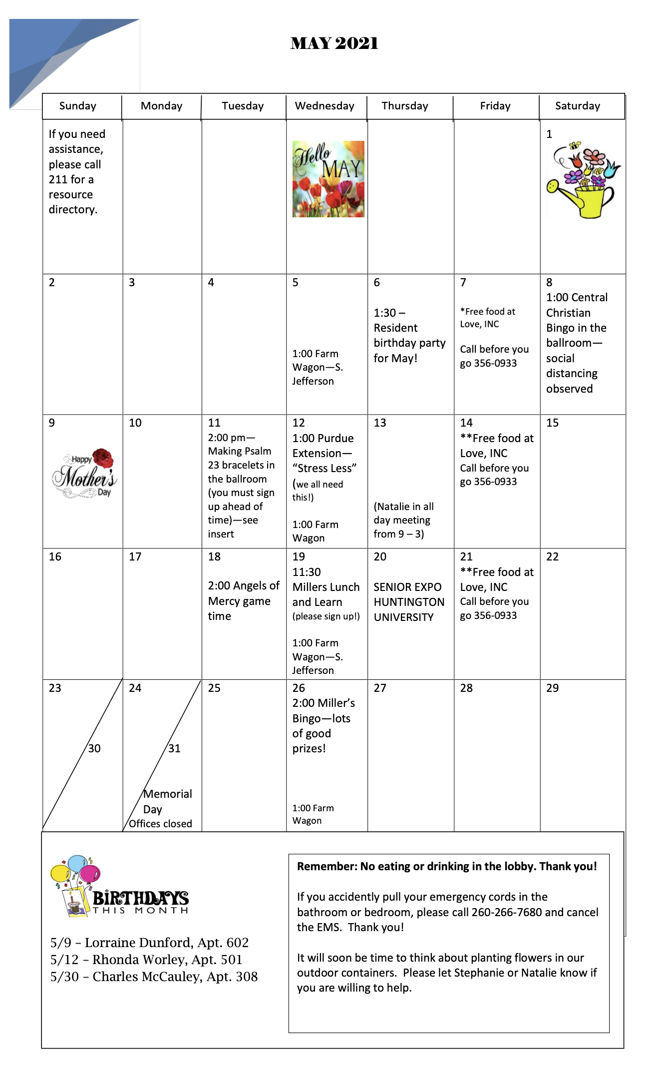 LaFonatine May Calendar