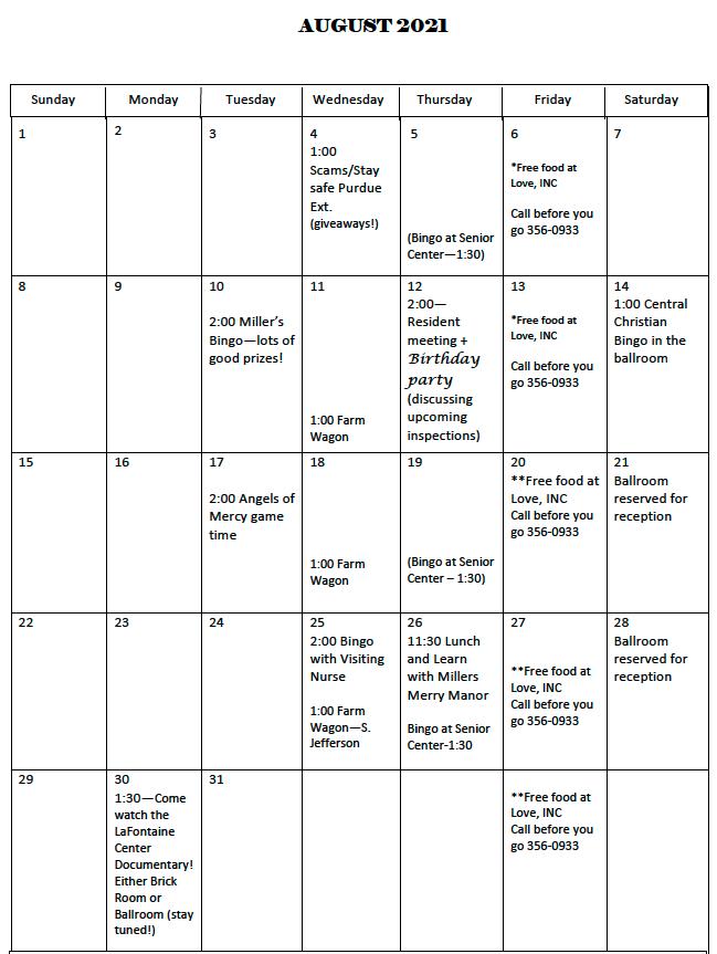 La Fontaine August calendar pg 1
