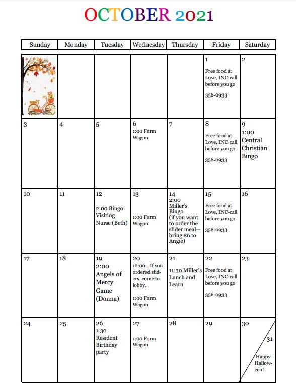 La Fontaine Center October 2021 Calendar