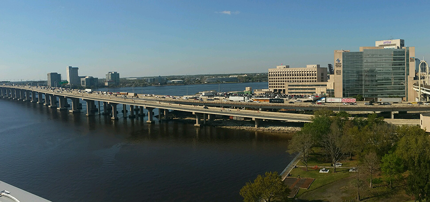 The Jacksonville areas with a large highway the is above the ocean