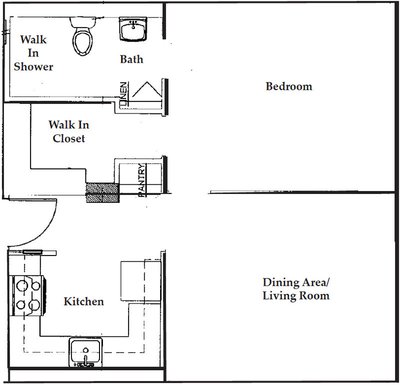 Apartment floor plan one bedroom / one bathroom.