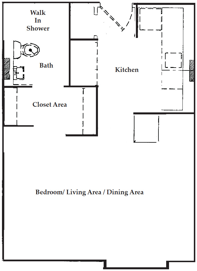 Efficiency apartment floor plan with one bathroom.