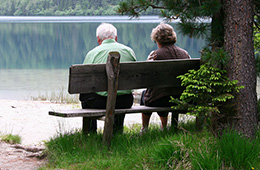 A couple sitting on a bench next to a lake lines with pine trees