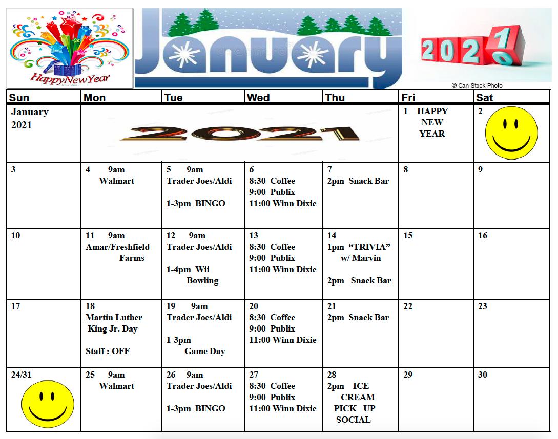 Towers of Jacksonville January activity calendar