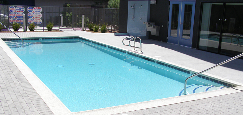College Villas swimming pool with shower and drinking fountain