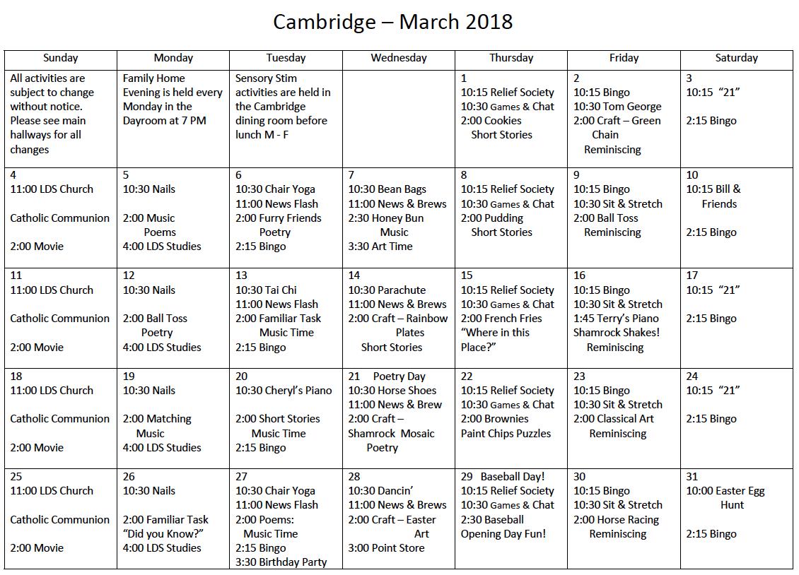 South Ogden Cambridge March activity calendar