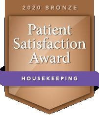 2020 Bronze Patient Satisfaction Award for Housekeeping