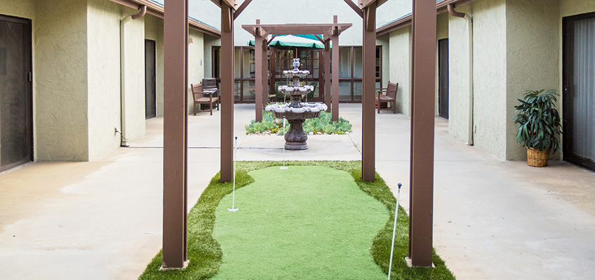 putting green in a courtyard area