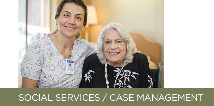 nurse and older woman smiling with headline: social services / case management