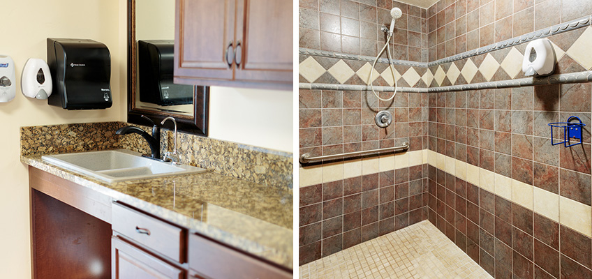 kitchen and shower photos side by side