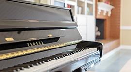 close up on piano keys