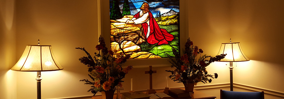 beautiful stained glass window in the chapel