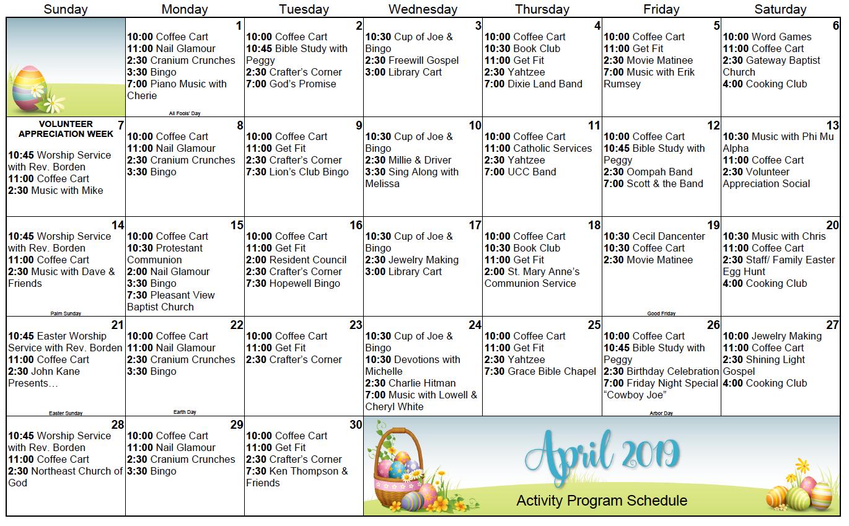 Calvert April calendar