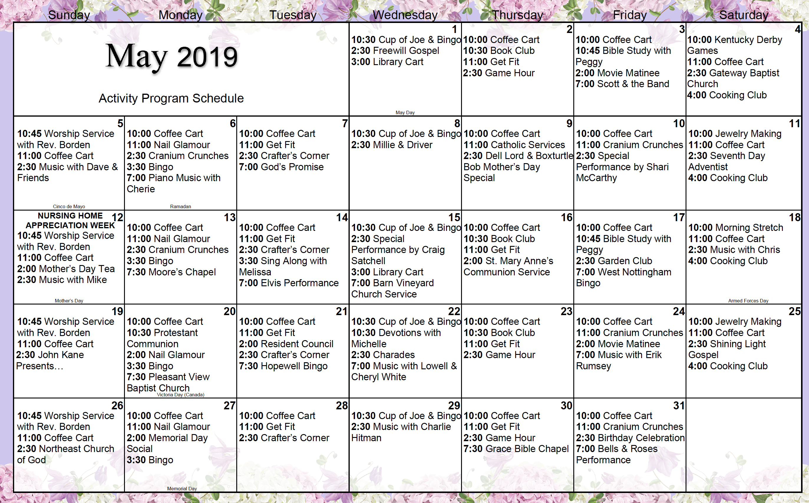 Calvert Manor's May 2019 resident activity calendar