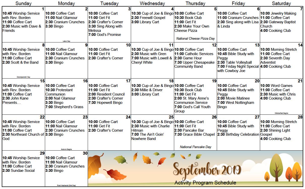 Calvert Manor September calendar
