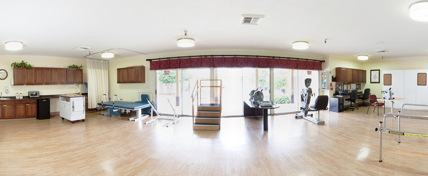 wide shot of the rehabilitation room with different rehab equipment