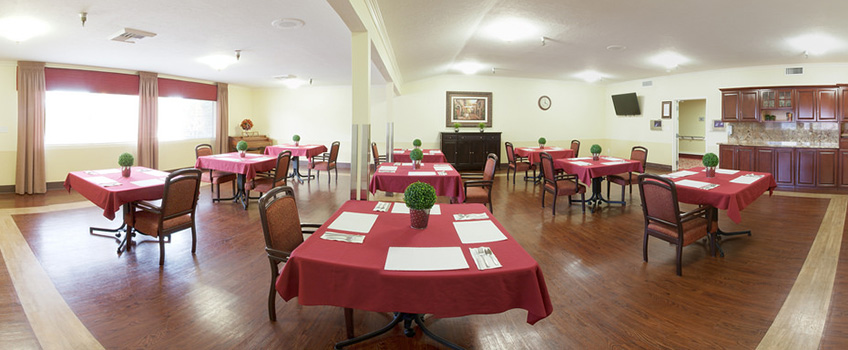 wide shot of the dining area, many tables