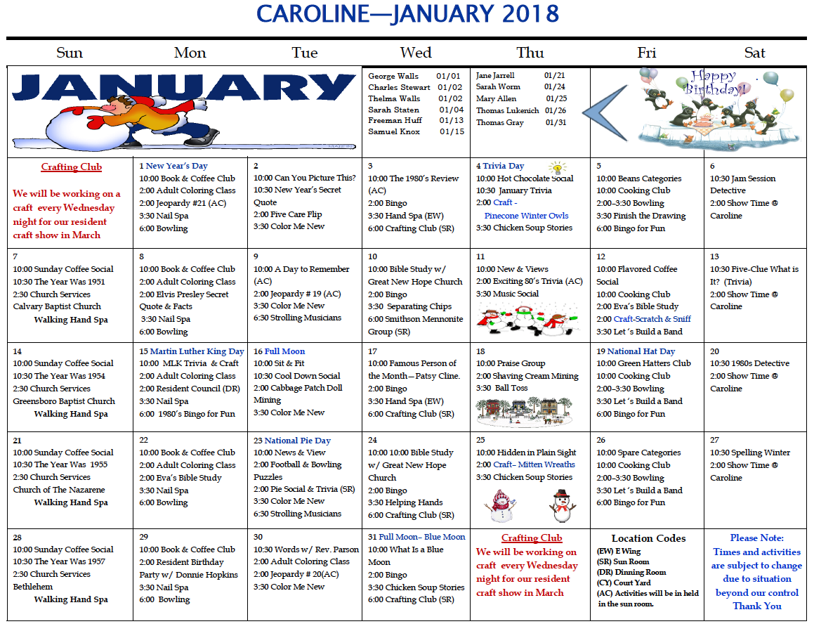 Caroline Nursing and Rehab January 2018 activity calendar - Caroline