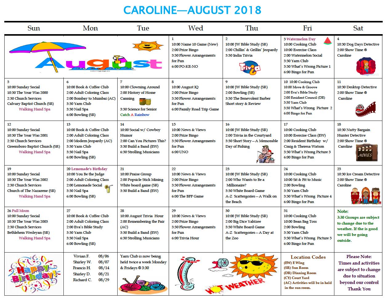 August 2018 Caroline calendar - Caroline Nursing and Rehabilitation