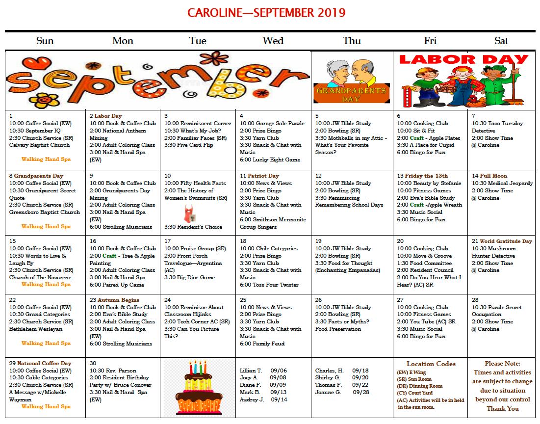 September 2019 activity calendar