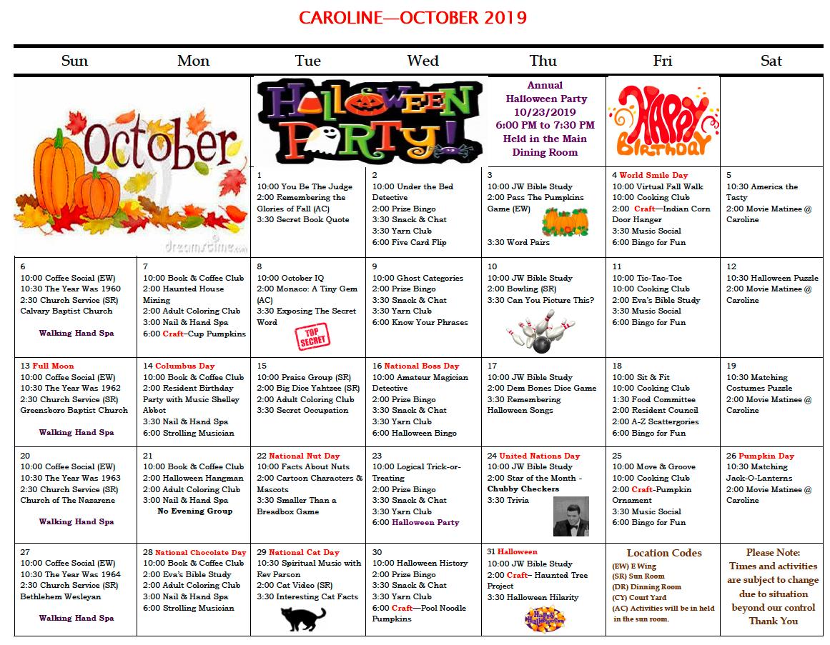 October 2019 Caroline activity calendar