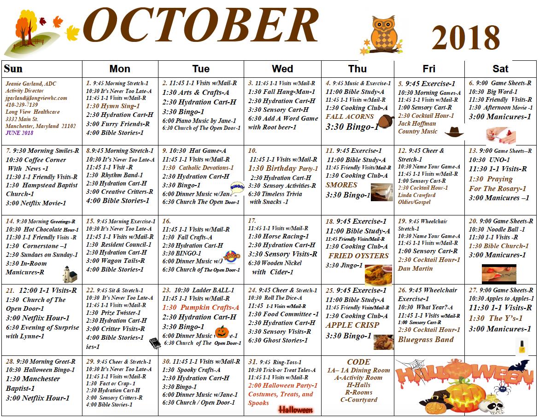 Long View October calendar
