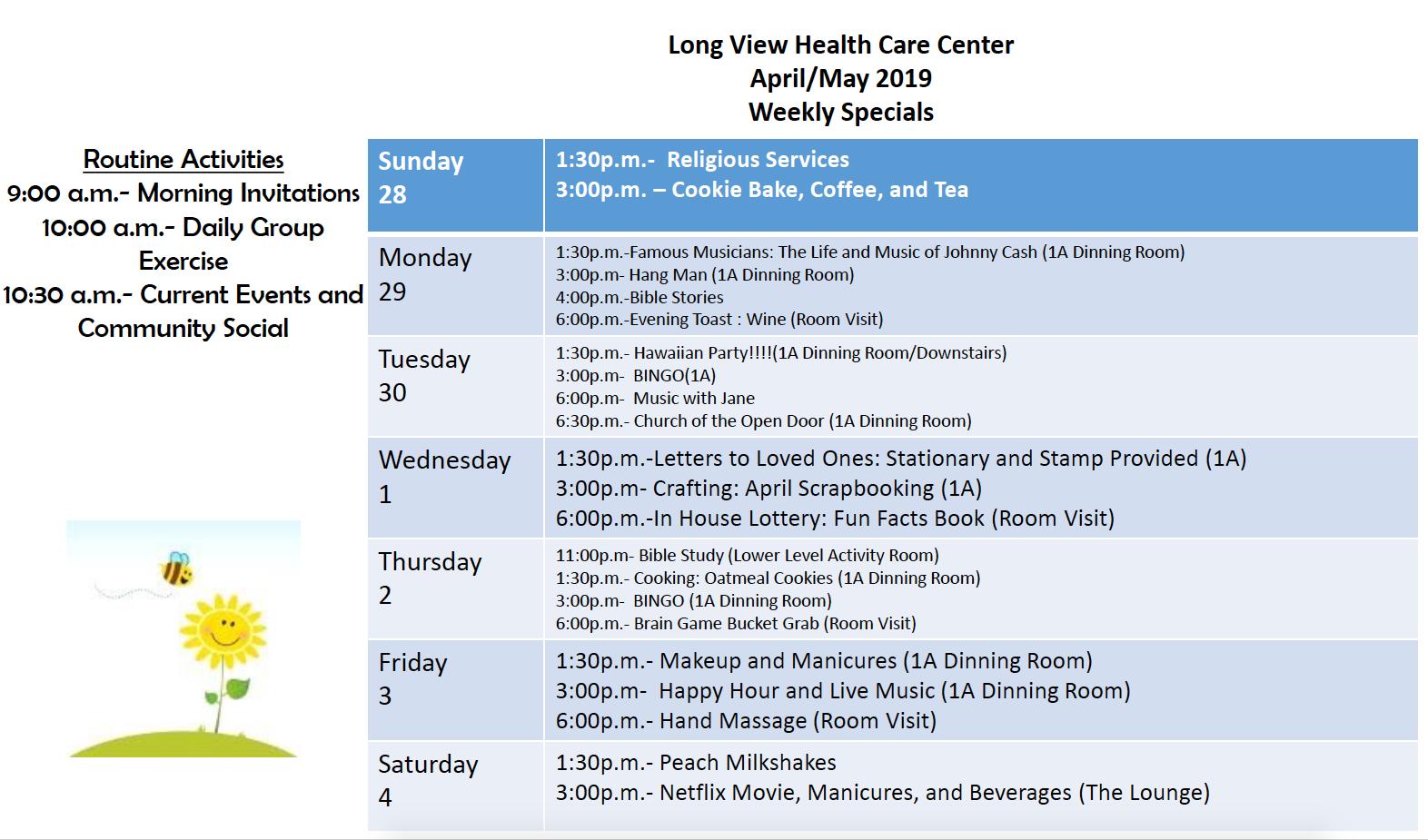 Longview May calendar