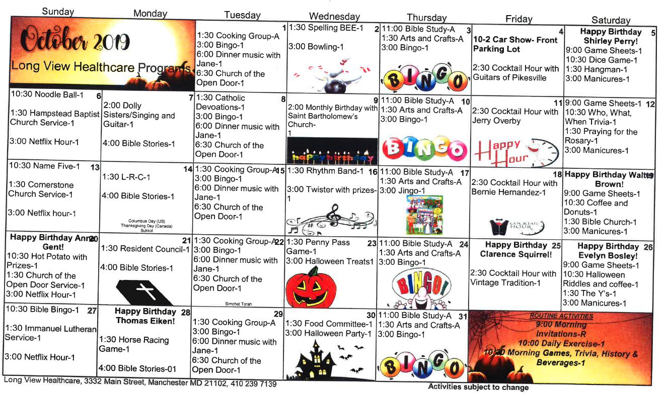 Long View October 2019 activity calendar