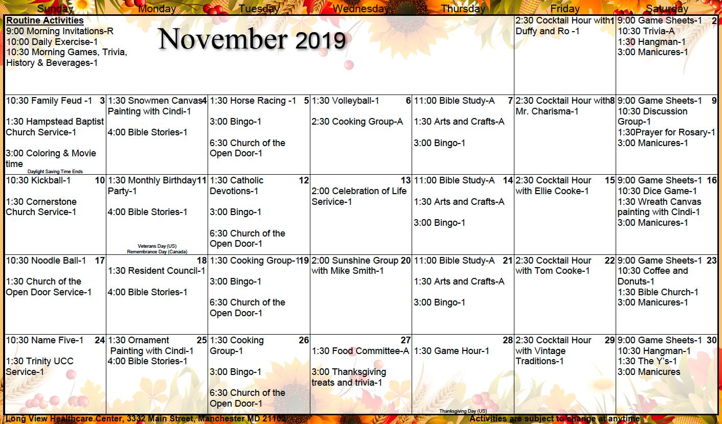 Long View November calendar