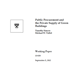 Report: Public Procurement and the Private Supply of Green Buildings