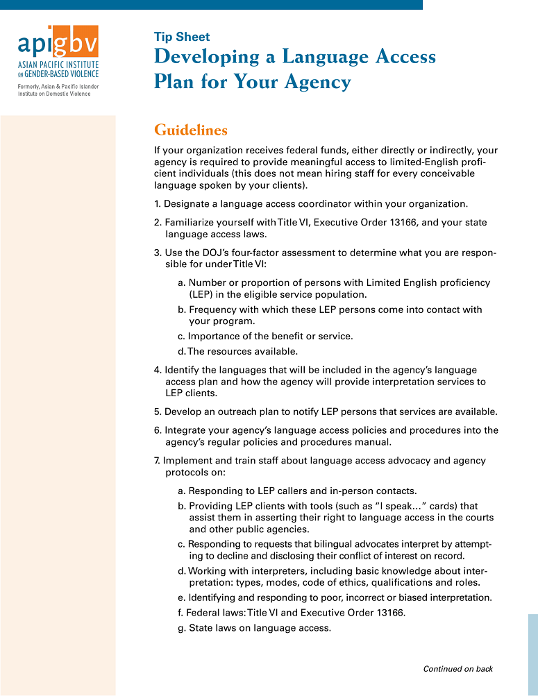 Developing a Language Access Plan for Your Agency, 2015 ...