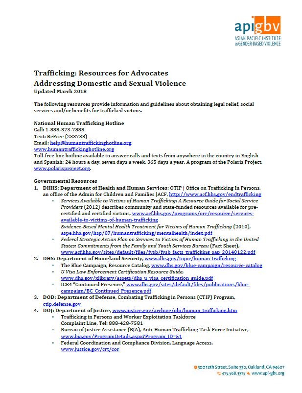 Trafficking Resources List, 2017