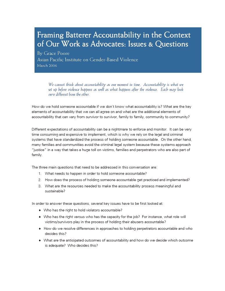 Framing Batterer Accountability in the Context of Our Work as ...