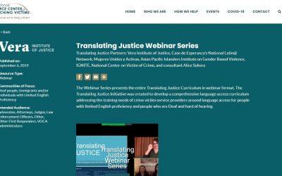 Translating Justice Webinar Series, 2019