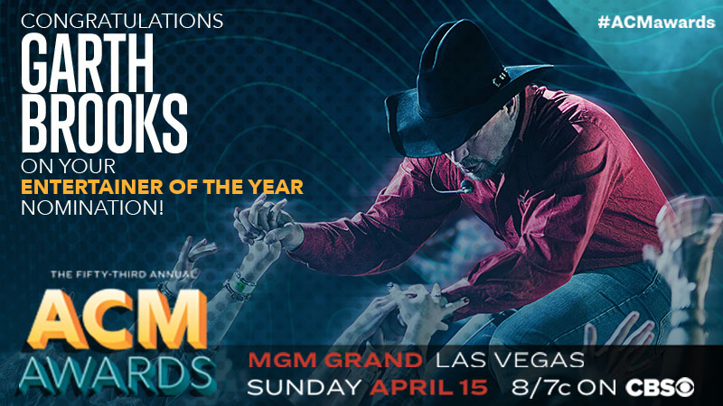 GARTH BROOKS NOMINATED FOR ACM ENTERTAINER OF THE YEAR