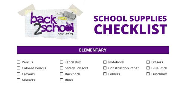 elementary back to school checklist