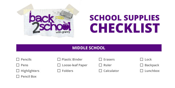 middle school back to school checklist