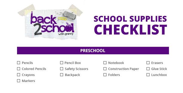 preschool back to school checklist