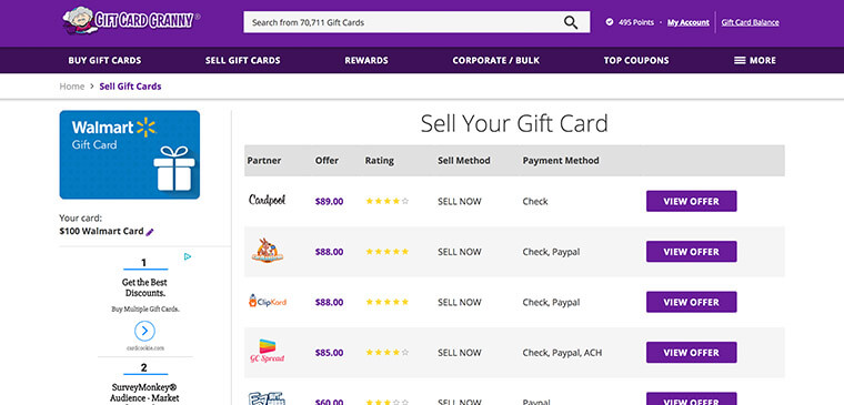 Gift Card Granny Sell Gift Card Offers