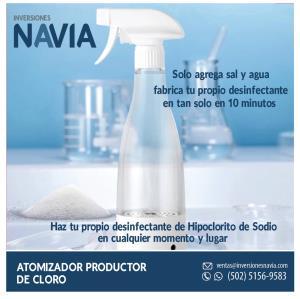 Atomizador Productor de Cloro Desinfectante. Agregue agua y sal, el dispositivo produce Cloro desinfectante por Electrolisis