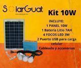 Kit solar 10W /  Esté es perfecto para Iluminación y carga de celular.   Capacidad de 6 a 8 horas de Iluminación  Incluye 4 focos led de 3W  con sus respectivos cables de 7mts de distancia.  Incluye cable multipuntas para carga de celular